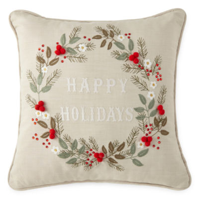 North Pole Trading Co. Happy Holidays Throw Pillow