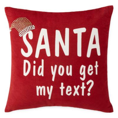 North Pole Trading Co. Santa Text Throw Pillow