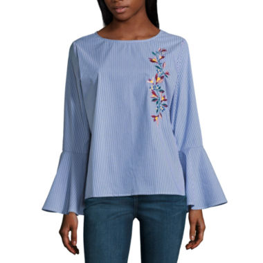 St. John's Bay Long Sleeve Round Neck Dobby Blouse