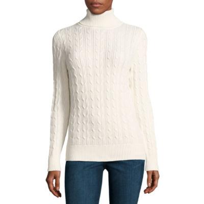 St. John's Bay Long Sleeve Turtleneck Pullover Sweater