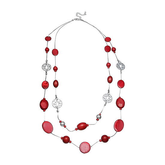 Mixit Red Shell Womens Illusion Necklace