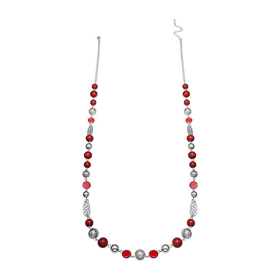 Mixit Red Seedbead Balls And Shell Beaded Necklace