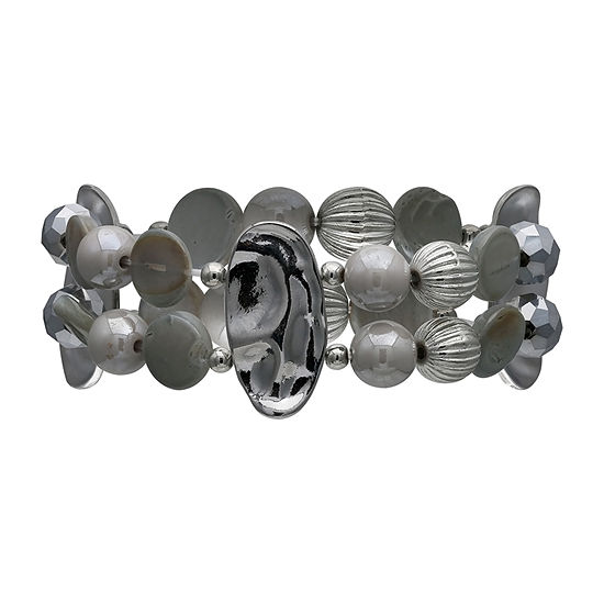 Mixit Grey Shell And Bead Stretch Bracelet