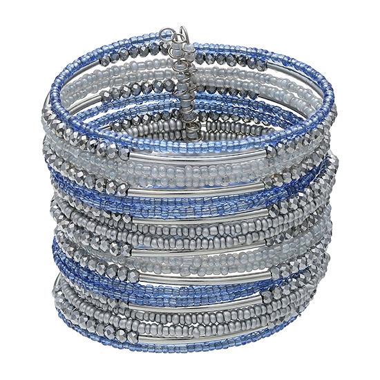 Mixit Blue Seedbead Womens Cuff Bracelet