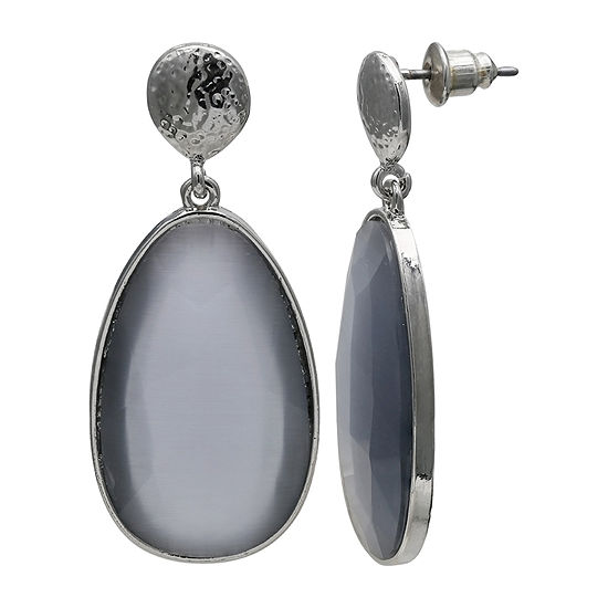 Mixit Grey Faceted Drop Earrings