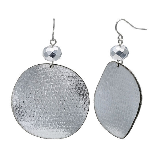 Mixit Silver Snake Print Drop Earrings