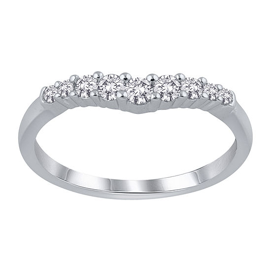 Womens 1/2 CT. T.W. Genuine White Diamond 14K White Gold Ring Enhancer