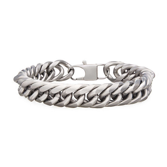 Stainless Steel 8 1/2 Inch Curb Chain Bracelet