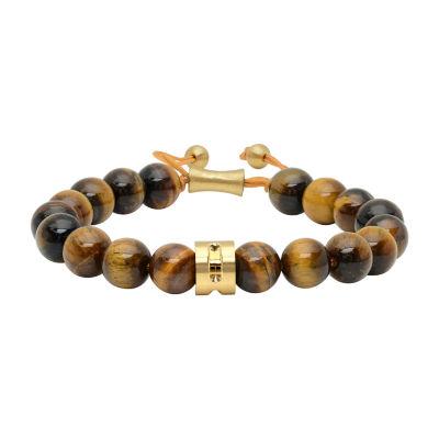Genuine Brown Tiger's Eye Stainless Steel Bolo Bracelet