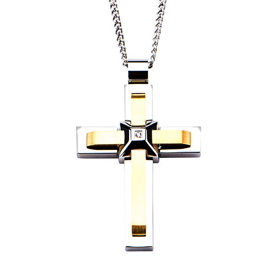 Mens Lab Created Cubic Zirconia Stainless Steel Cross Pendant Necklace
