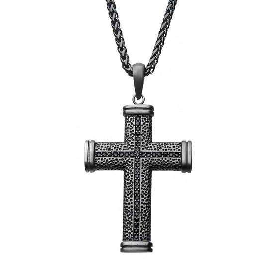 Mens Lab Created Black Cubic Zirconia Stainless Steel Cross Pendant Necklace