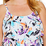 Liz Claiborne Floral Tankini Swimsuit Top Plus