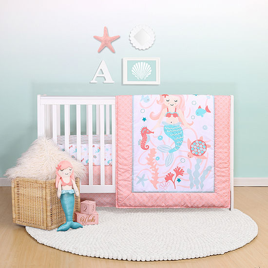 Belle Mermaid Kisses 4-pc. Crib Bedding Set