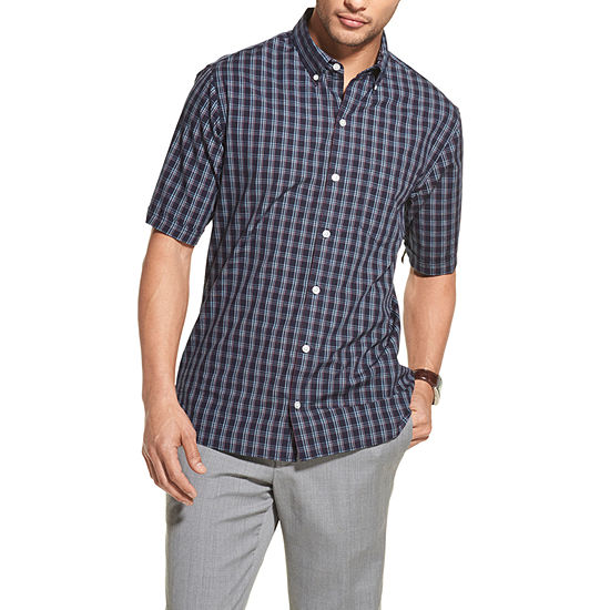 Van Heusen Never Tuck Mens Short Sleeve Button Front Shirt Slim