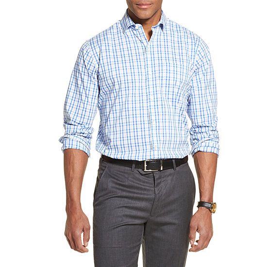 Van Heusen Ls Traveler Stretch Mens Long Sleeve Plaid Button-Front Shirt