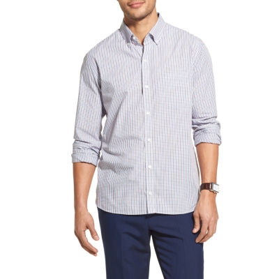 Van Heusen Never Tuck Mens Long Sleeve Button-Front Shirt Slim
