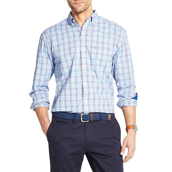 IZOD Premium Essentials Mens Long Sleeve Plaid Button-Front Shirt