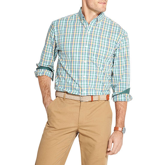IZOD Premium Essentials Mens Long Sleeve Plaid Button-Front Shirt