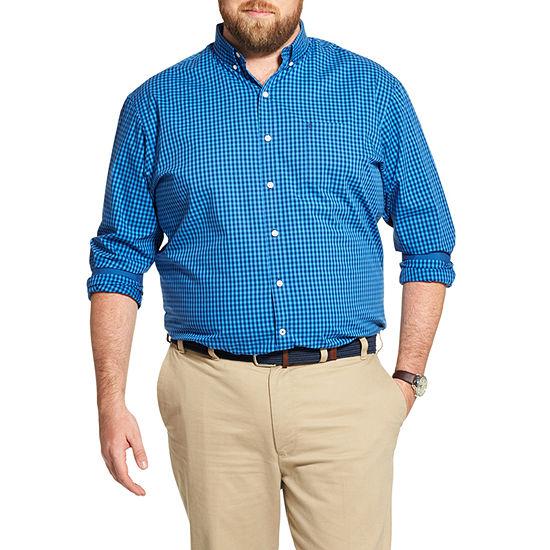 IZOD Big and Tall Premium Essentials Stretch Gingham Button-Down Shirt