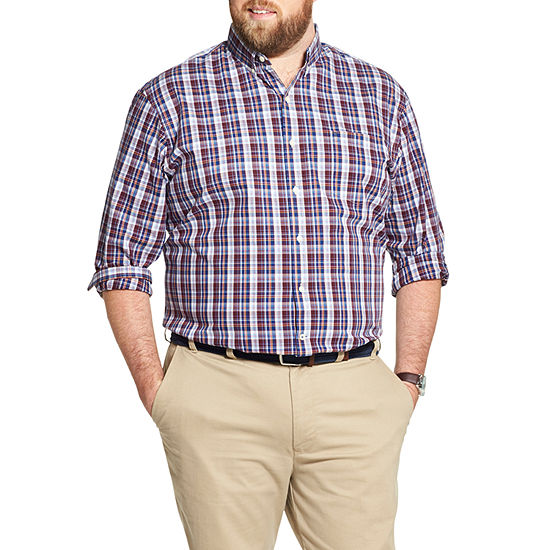 IZOD Big and Tall Premium Essentials Stretch Plaid Button-Down Shirt