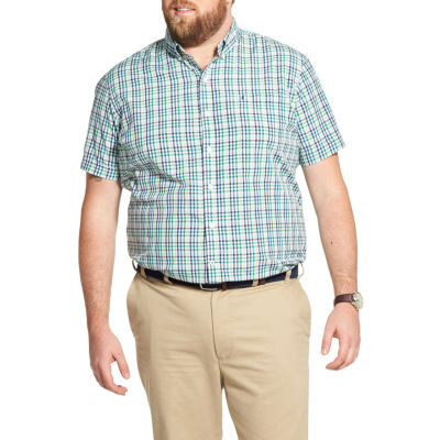 IZOD Mens Short Sleeve Plaid Button-Front Shirt Big and Tall