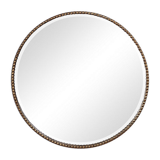 Beveled Antiqued Gold Wall Mirror
