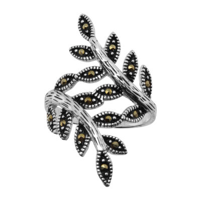 Sparkle Allure Womens Gray Marcasite Pure Silver Over Brass Cocktail Ring