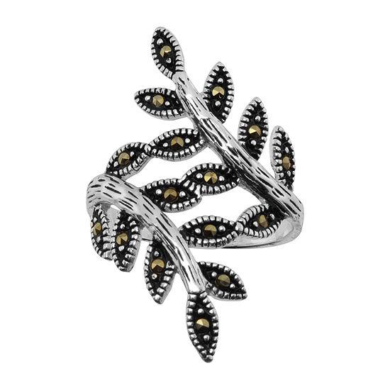 Sparkle Allure Gray Marcasite Pure Silver Over Brass