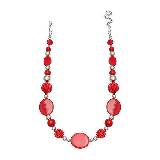 Mixit Red Seedbead Balls With Shell Beaded Necklace