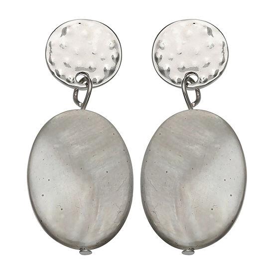 Mixit Grey Shell Drop Earrings