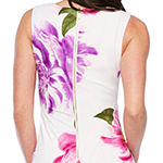 Premier Amour Sleeveless Floral Midi Sheath Dress