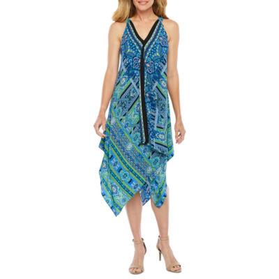 S. L. Fashions Sleeveless Abstract Alt Hem Dress