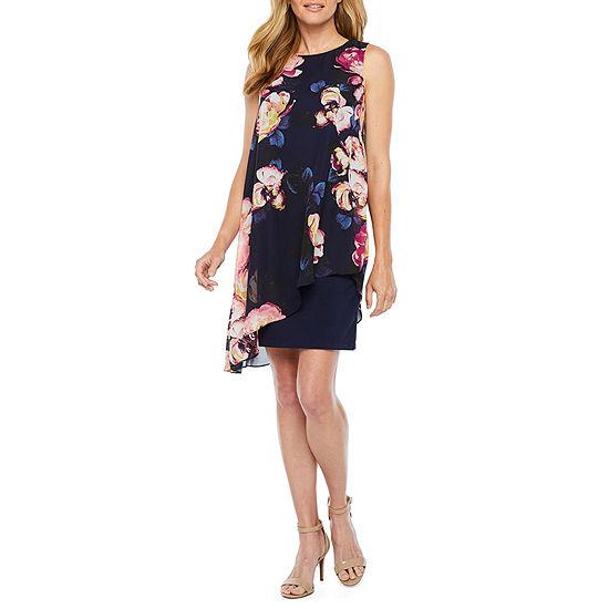 S. L. Fashions Sleeveless Floral Sheath Dress