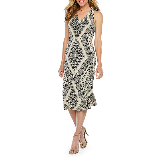 London Style Sleeveless Diamond Sheath Dress