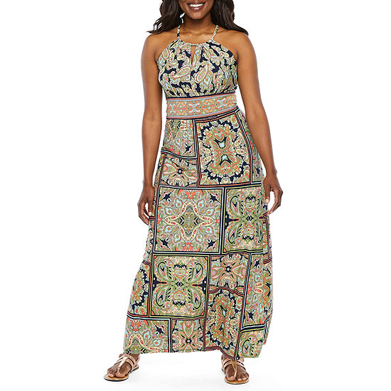 London Style Sleeveless Paisley Maxi Dress Petite