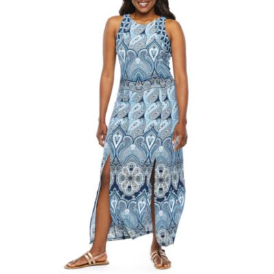 London Style Sleeveless Paisley Maxi Dress-Petite