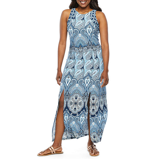 London Style-Petite Sleeveless Paisley Maxi Dress