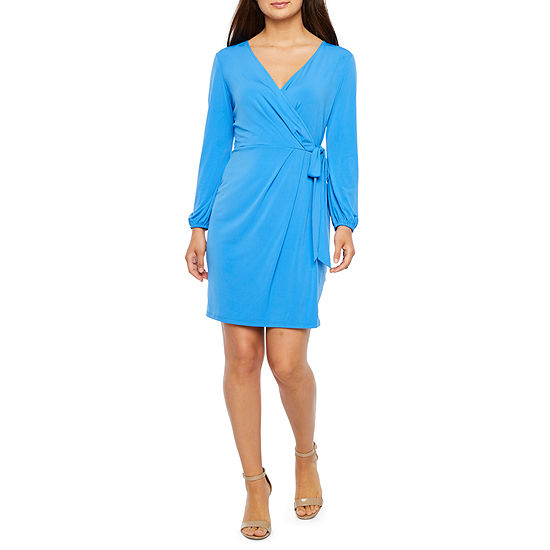 London Style-Petite Long Sleeve Wrap Dress
