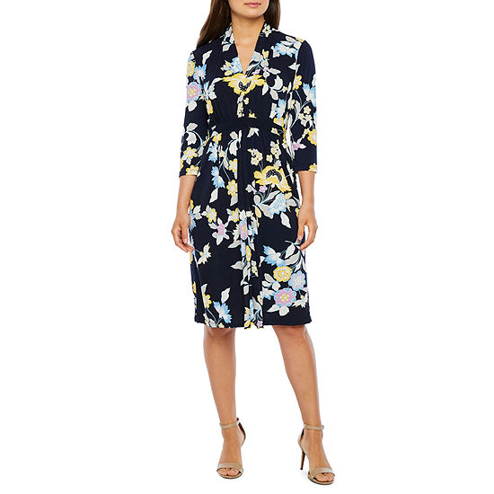 London Style-Petite 3/4 Sleeve Floral Fit & Flare Dress