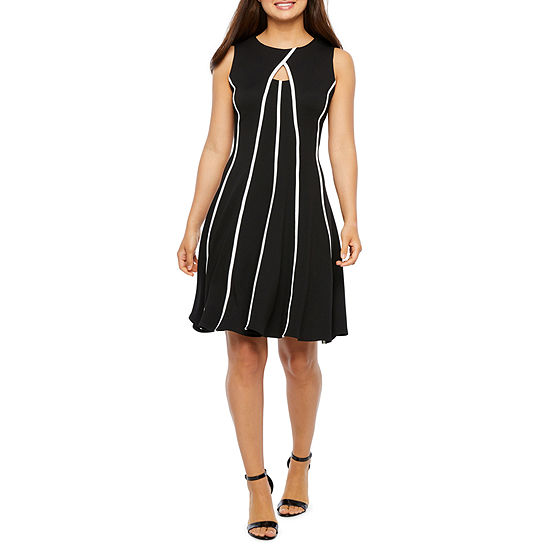 Danny & Nicole Sleeveless Striped Fit & Flare Dress-Petite