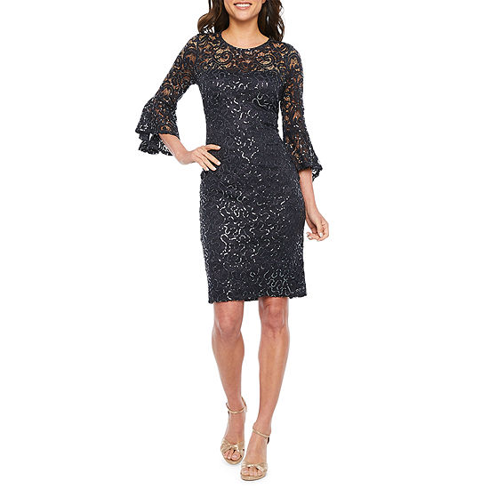 Blu Sage 3/4 Bell Sleeve Sequin Lace Sheath Dress
