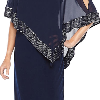 S. L. Fashions 3/4 Sleeve Cape Evening Gown