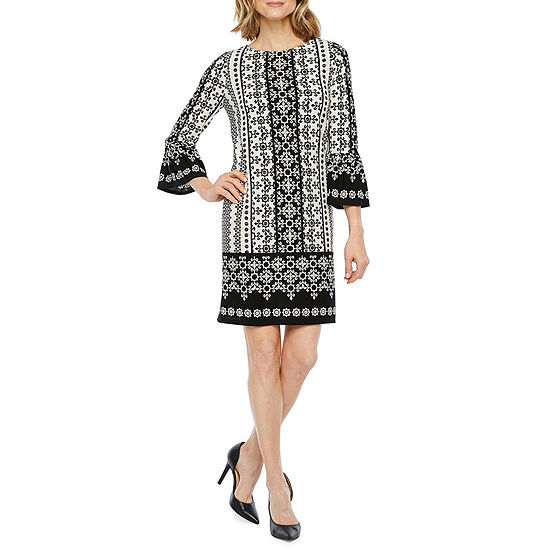 Liz Claiborne 3/4 Bell Sleeve Geometric Shift Dress