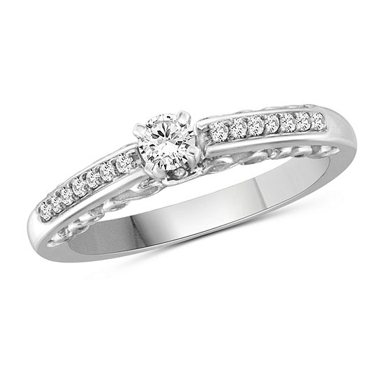 Womens 1/2 CT. T.W. White Cubic Zirconia Sterling Silver Engagement Ring