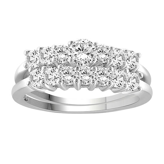 Womens 2 1/3 CT. T.W. White Cubic Zirconia Sterling Silver Engagement Ring
