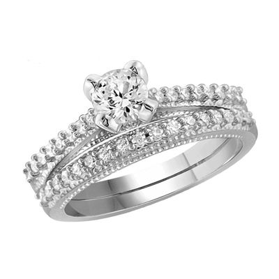 Womens 1 1/2 CT. T.W. White Cubic Zirconia Sterling Silver Engagement Ring