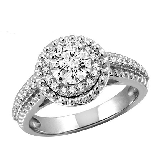 Womens 2 1/5 CT. T.W. White Cubic Zirconia Sterling Silver Engagement Ring