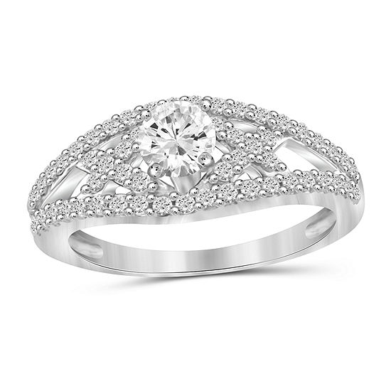Womens 2 Ct Tw White Cubic Zirconia Sterling Silver Engagement Ring