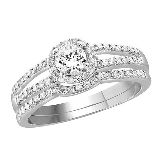 Womens 1 1 10 Ct Tw White Cubic Zirconia Sterling Silver Engagement Ring