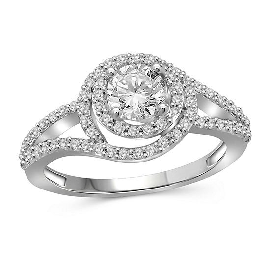 Womens 3 CT. T.W. White Cubic Zirconia Sterling Silver Engagement Ring
